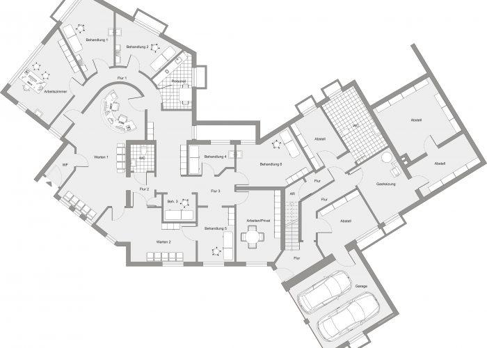 Freistehendes Ein- bis Zweifamilienhaus mit großer Gewerbeeinheit im Erdgeschoss